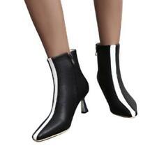 Ladies Kitten Heel Comfort Pointy Toe Ankle Boots Winter Warm Gift For Women D