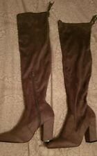 Womens Lipsy London Grey Over The Knee Suede Heel Boots NEW Size Uk 8