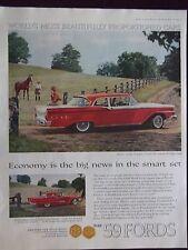 1959 Ford Custom 300 Tudor Sedan and Thunderbird Automobile Advertisement
