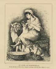 ANTIQUE VICTORIAN MOTHER DAUGHTER MISS SUNRISE MORNING DRESS BATHING BASIN PRINT