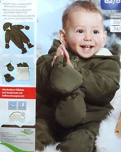 Baby Winteroverall Jungen Kapuze Schneeoverall Handschuhe Schneeanzug Warm NEU