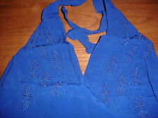 NEW FREE PEOPLE ELECTRIC BLUE EMBROIDERED MOCKINGBIRD FITTED TIE HALTER TOP -S 4