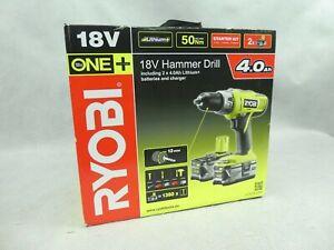 Ryobi 18v Cordless Hammer Drill Starter Kit 2 x Batteries New Original Packaging
