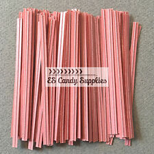 "100 Light Pink Twist Ties, Light Pink Paper Twist Ties - 3 1/2"""