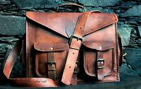 New Men's Genuine Brown Leather Laptop Bag Messenger Shoulder Briefcase Handbag