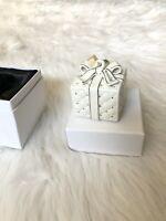 Pandora Gift Box Ornament In Original Box White Platinum Trim Ribbon Hanger