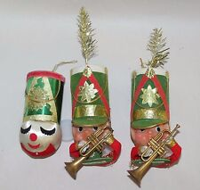Vintage Marching Band Trumpet Player w Flocked Cardboard Hat Christmas Ornaments