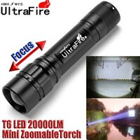 Tactical Zoomable 20000LM 3-Modes  T6 LED 18650 Police Flashlight Torch Lamp ·