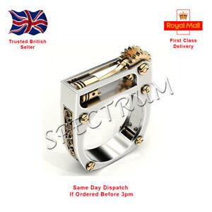 Fashion Mens Mechanical Gear Wheel Piston Ring Punk Biker Geometric UK Seller