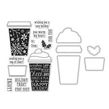 "Hero Arts ""COFFEE CUP"" Poly Clear Stamps + Coordinating Frame Cuts Dies Bundle"