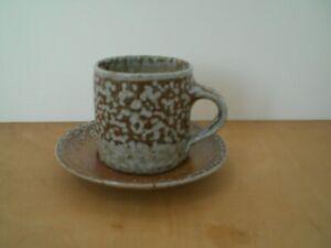 Sarah Walton  --  Salt-glaze  Coffee Cup and Saucer   Studio Pottery