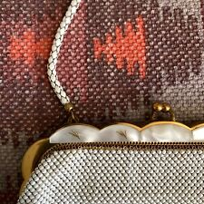 Vintage Whiting Davis Alumesh Mesh Handbag Gold Lucite Handle White Satchel