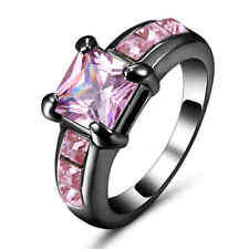 Jewelry Rings Size 7 Pink Sapphire Crystal CZ Women's Black Rhodium Plated