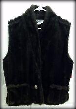 Cactus Flower Brown Faux Fur Mink Vest, Women's Size XL