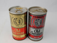 (2) Vintage Old German Famous Flavor pull tab beer cans bottom open price tag