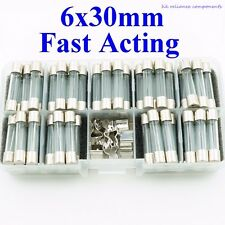 45, Kit Glass Fuses 6G 500mA ~ 15A 6.35 x 30mm FAST ACTING QUICK BLOW UL LISTED