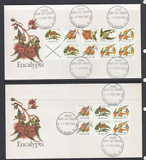 FDCs: 1982 EUCALYPTS BOTH TYPES OF BOOKLET PANES ON COVERS