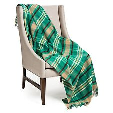 Johnstons of Elgin Limited Lambswool Throw Blanket - Teal Camel Plaid Check
