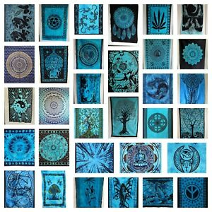 BLUE Wall Hanging Tapestry Cotton Poster Wall Art Decor Hippie Bohemian Mandala