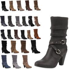 Damen Stiefel Strick Stiefeletten Schuhe 98177 Gr. 36-41