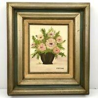 Vintage Floral Vase Floral Flowers Wood Frame Oil Hand Painting Art Forshee