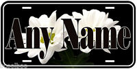 White Flowers Aluminum Any Name Personalized Novelty Car License Plate