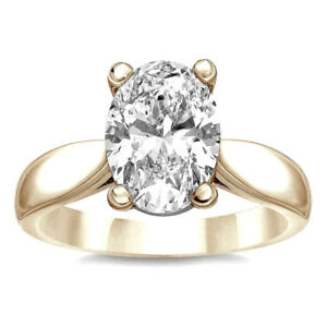 4.50 Carat Natural J VS1 Diamond Oval Solitaire Engagement Ring 18K Yellow Gold