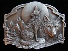 TWO WOLVES BELT BUCKLE SOLID PEWTER NEW NICE! BUCKLES