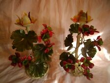 2 Htf Vtg Italy Red Geranium Flowers Metal Candle Holders Shabby Chic Tole Ware