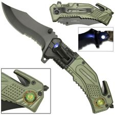 Spring Assist LED Tactical Rescue Knife US Army