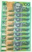 .1996 UNC R616 9 x $100 CONSECUTIVE RUNNING NOTES. FRASER / EVANS. HD 96 PREFIX