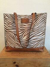 Patricia Nash Tan Haircalf Cow Hide Animal Print Tote Bag Handbag
