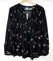NWT Old Navy Womens Black Floral Tunic Pleated Front Long Sleeve Top Large