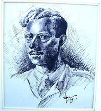Ritratto Militare Seconda guerra mondiale un funzionario guardare SINISTRA INCHIOSTRO Robert Lyon c1945