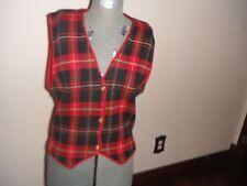 Womens Talbots Sz M 100% Merino Wool Plaid Vest NWT $78