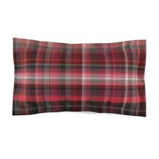 Red and Gray Plaid Classic Style Microfiber Pillow Sham