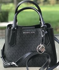 Michael Kors Kimberly MK Signature Black Black SM Satchel Tote Bag