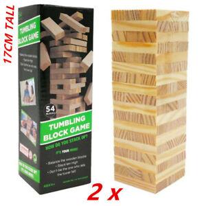 2pk Building Blocks Toy Jenga Board Games Wood Tumbling Tower 17CM 54Pcs Family
