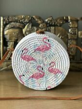 Authentic Bali Rattan Roundie Pink Flamingos Painted Sling Bag 20cm