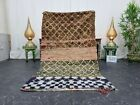 "Moroccan Handmade Vintage Rug 3'5""x6'  Berber Patchwork Brown Dark Blue Carpet"