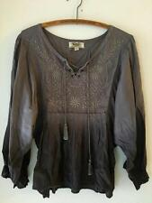 Nine West Vintage VAC Gray Embroidered Peasant Top Tassles Lace Up Front M