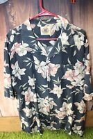 Pusser's Large Silk Cotton Black Floral Short Sleeve Button Men's Shirt