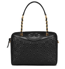 Tory Burch Fleming Duffel Black Bag 39052 for Women with Free Pouch Gift