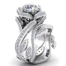 Women Fashion White Topaz Gemstone 925 Silver Lotus Flower Wedding Ring Set New
