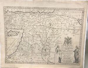 """1700 Wells' Map Of Asia Minor, Syria Armenia, Mesopotamia, Judaea 21.5 x 17.5"""""""