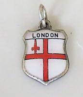 LONDON Vintage Silver Enamel Travel Shield Charm for Bracelet