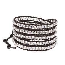 Mystique Clear Crystal 5-Wrap Brown Leather Bracelet
