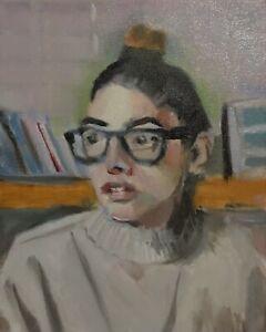 Original Jeffrey Lloyd Barnes 8x10 Portrait Painting Pretty Young Woman