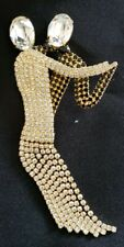 "Dancing Couple Swarovski Rhinestone Brooch Pin Huge 5 3/8"" Butler & Wilson"