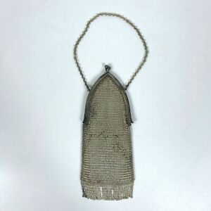 Antique Victorian French Mesh Chain Mail Bag Chatelaine Coin Purse Handbag